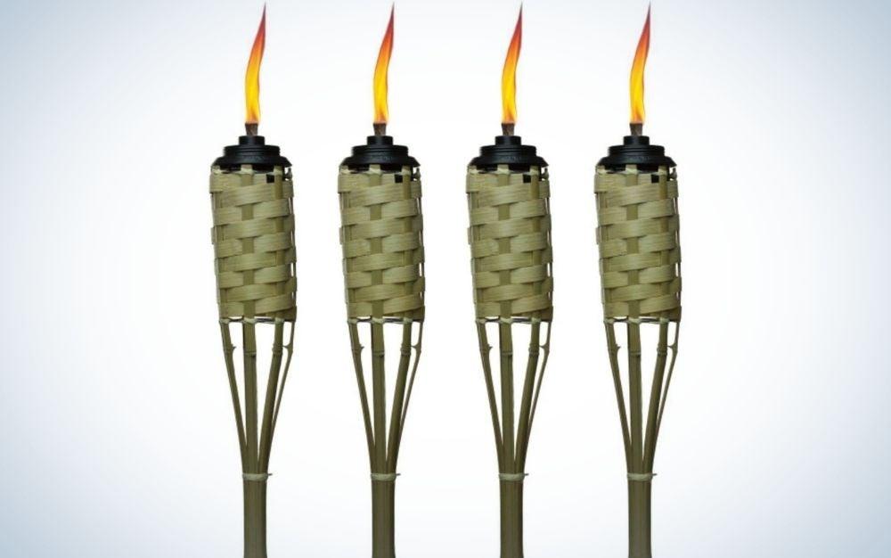 Four bamboo tiki torches