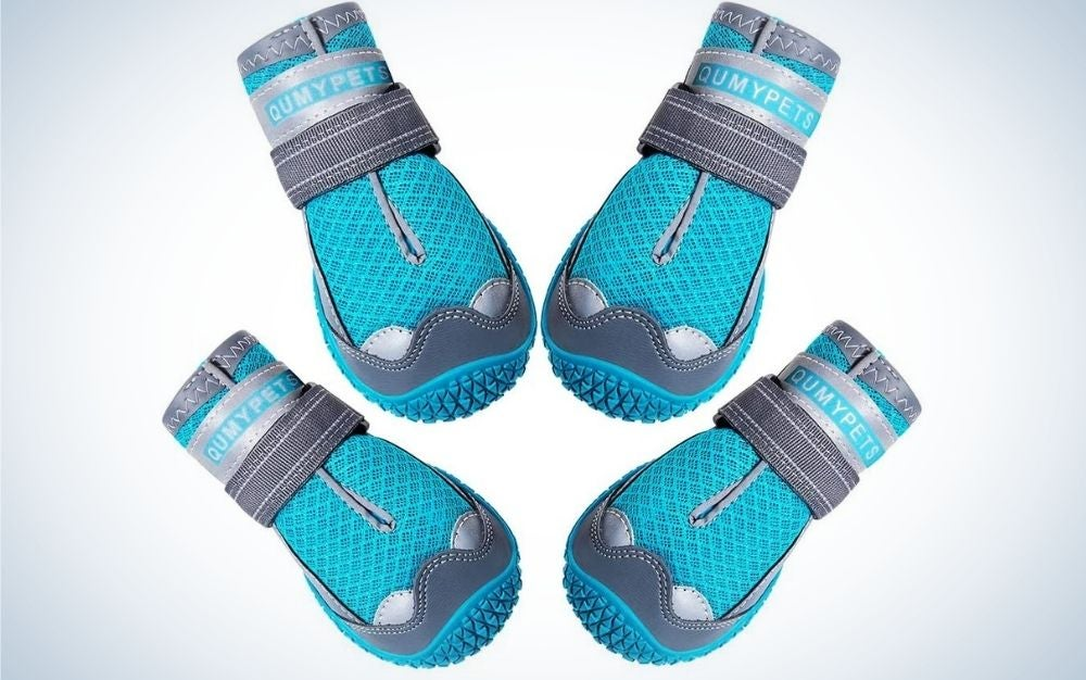 Four blue and grey pair of socks with reflective and adjustable straps.