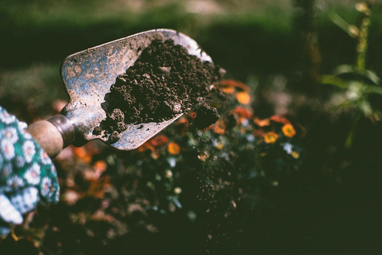 Shovel digging into soil.
