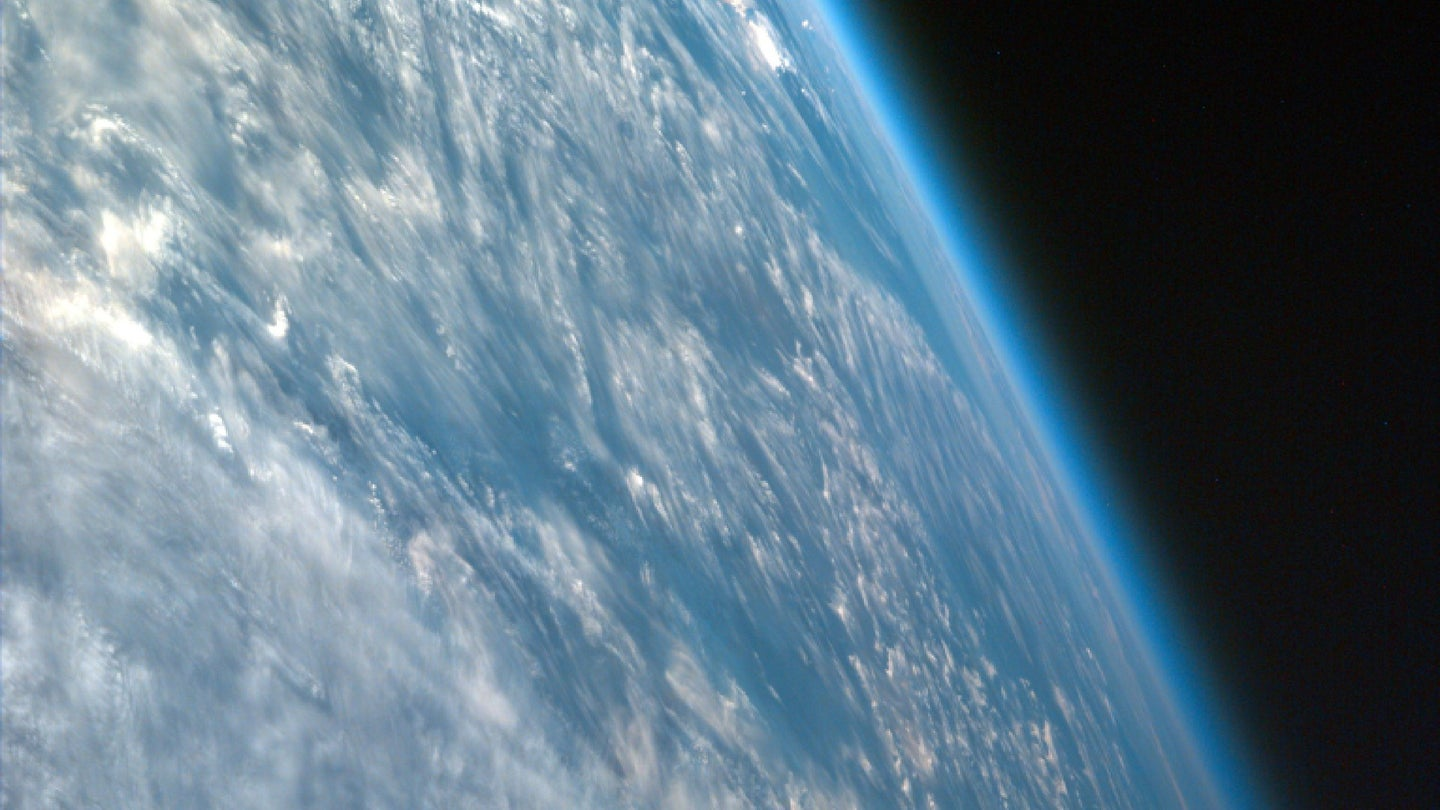 Oblique view of the Earth from space, showing its atmosphere
