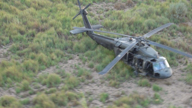 Black Hawk helicopter in field.