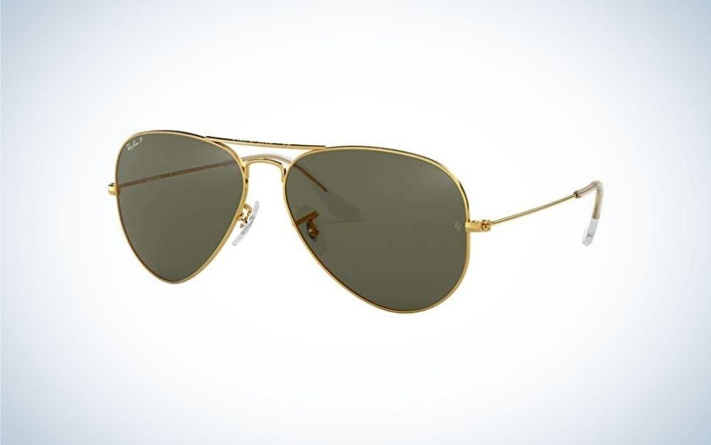 Gold Ray-Ban classic aviator sunglasses