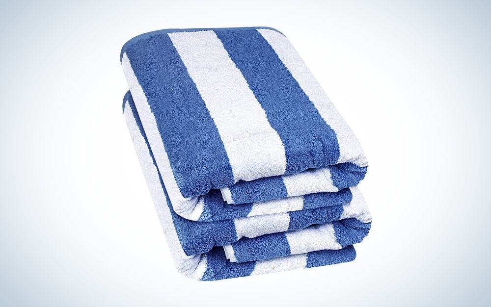 Stripped blue and white beach towels