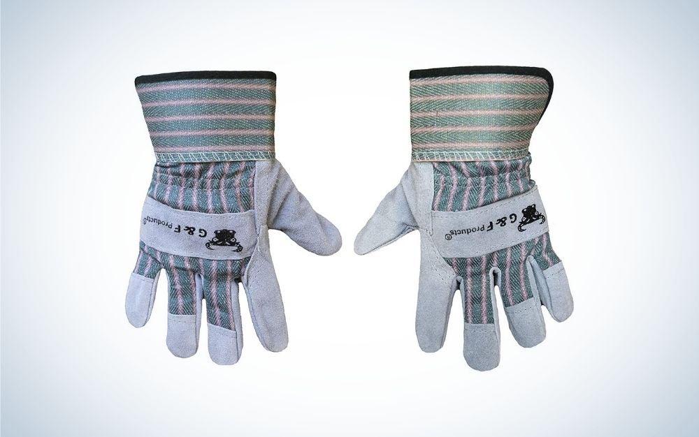 Grey gardening gloves for kids