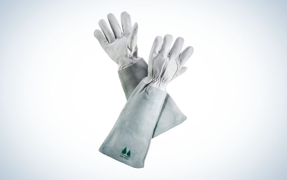 White leather gardening gloves
