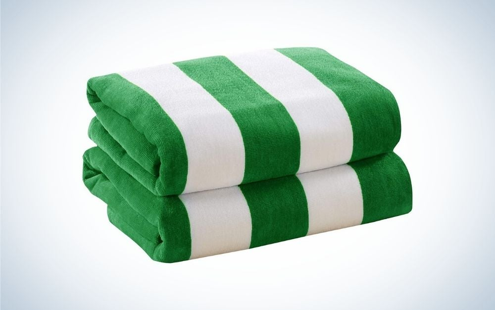 Stripped green and white beach towels