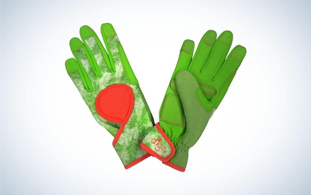 green leaves pattern gardening gloves
