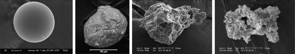 Microscopic images of four different kinds of space dust.
