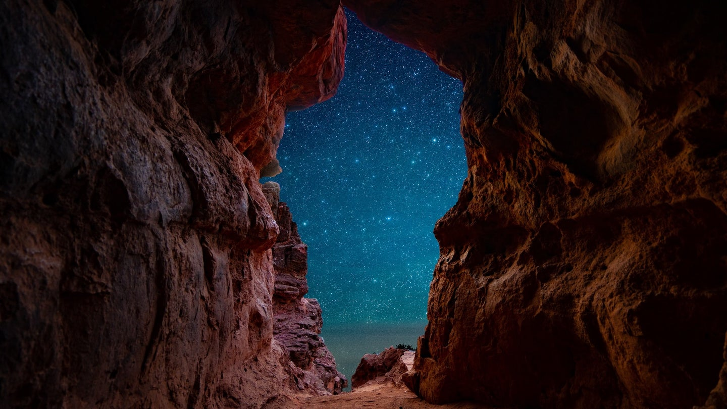 Stars seen from a cave.