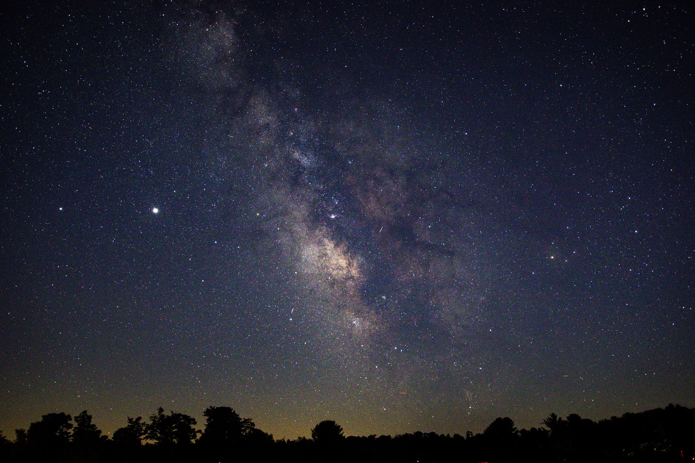 Night sky and stars above the Cherry Springs National Park.