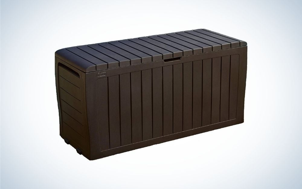 Brown storage box for outdoors