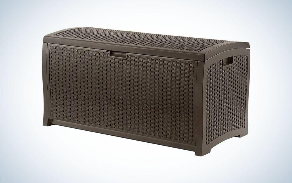 Rectangular, brown outdoor storage box