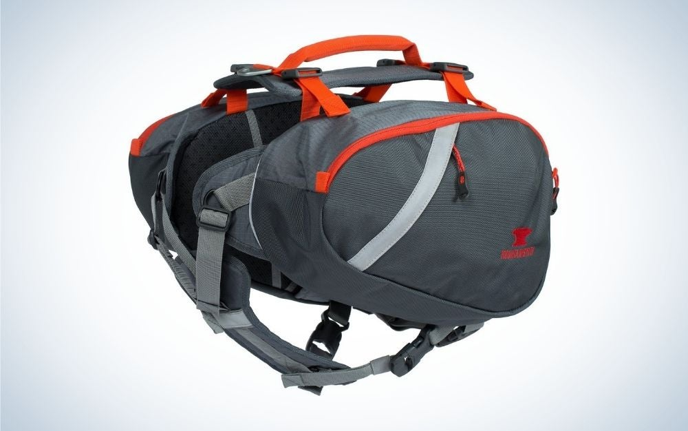 Gray and orange dog backpack harness