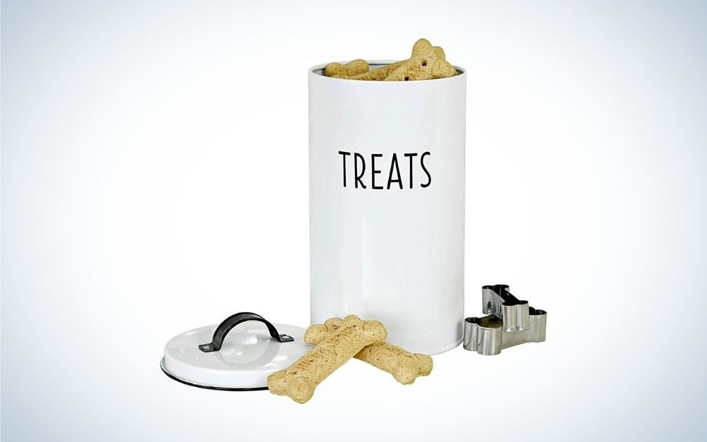 White pet food container with lid and two dog bone cookie cutters