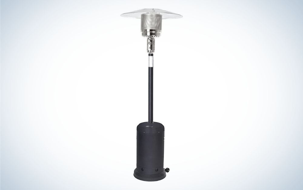 Black and silver patio heater on a mushroom shape with wheels