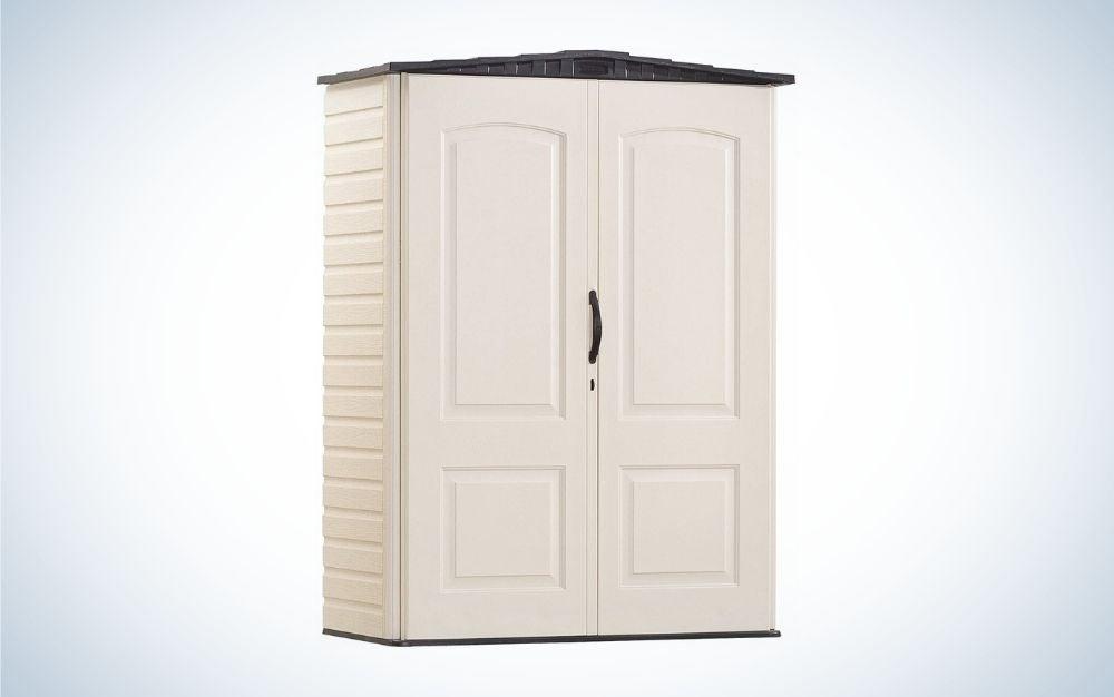 Sandstone color outdoor storage box in a closet shape