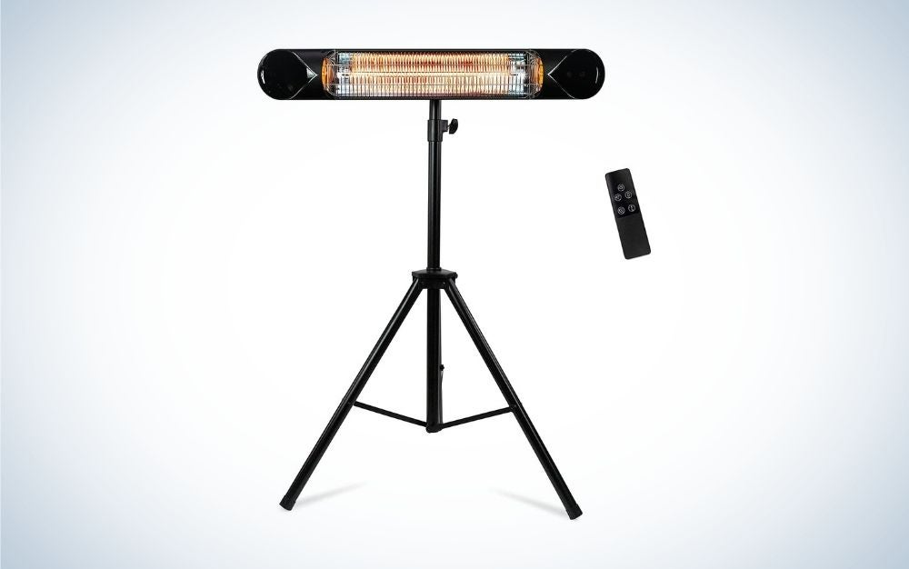 Black wall patio heater with remote control