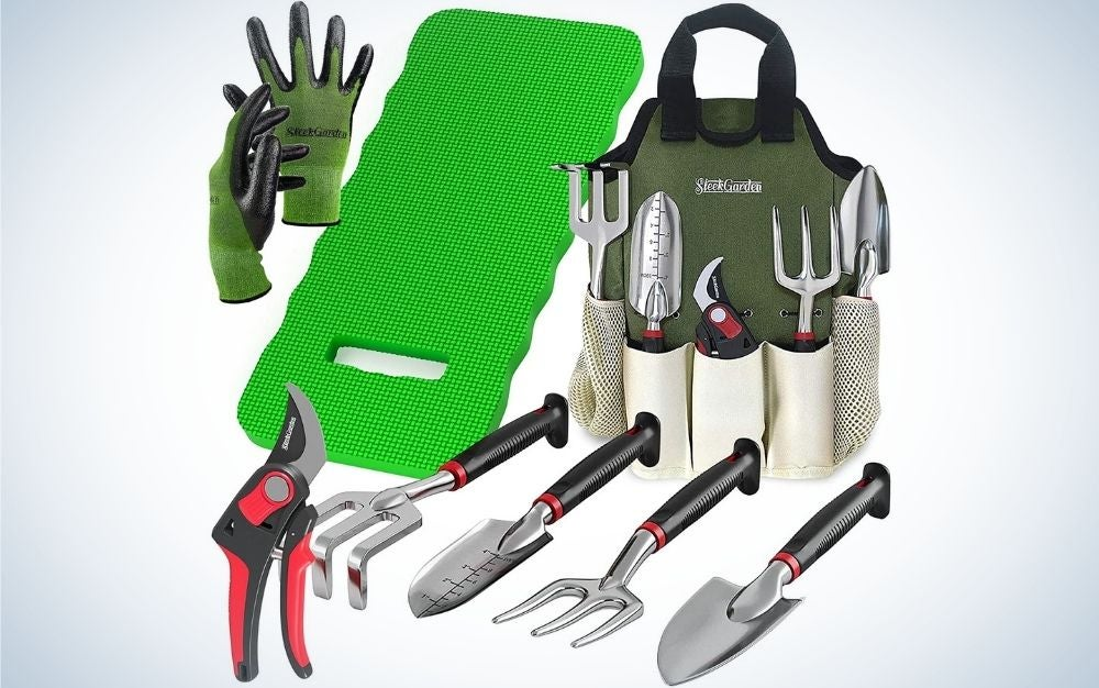 8 piece set of gardening tools from front that include green gloves and knee pad, aluminum hand tools with black and red handles and a garden tote.