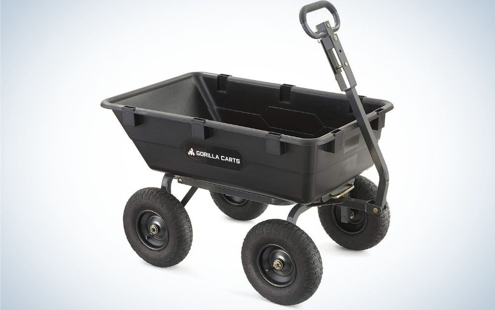 A two-wheeled black cart with a black lever to pull the cart.