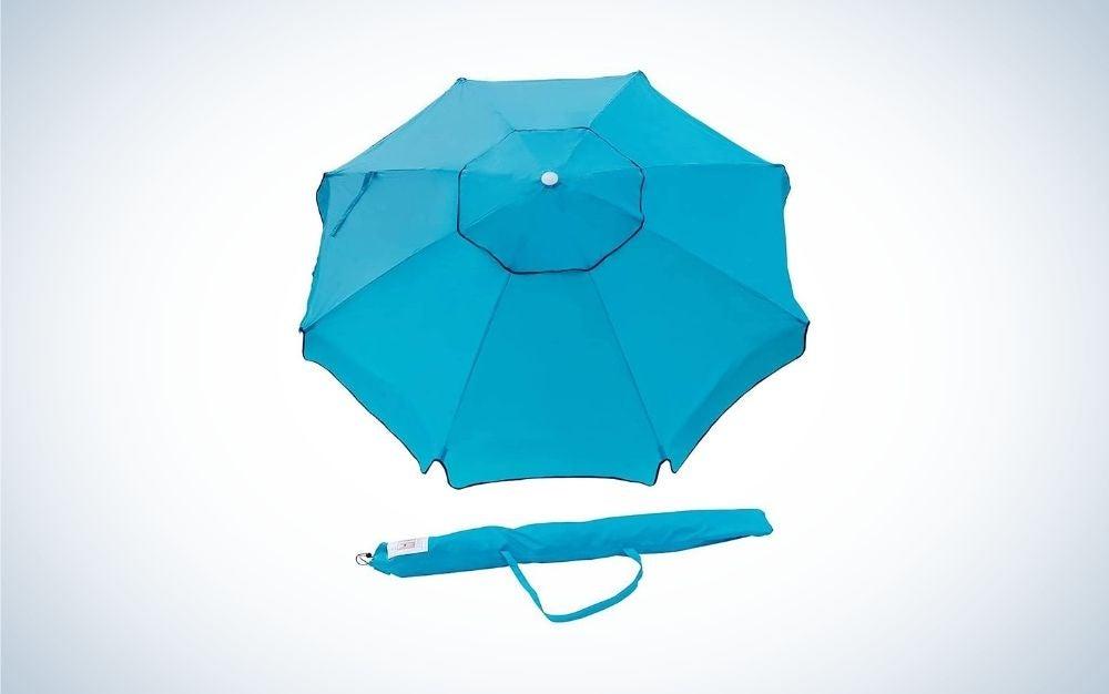 Sky blue beach umbrella with carry bag