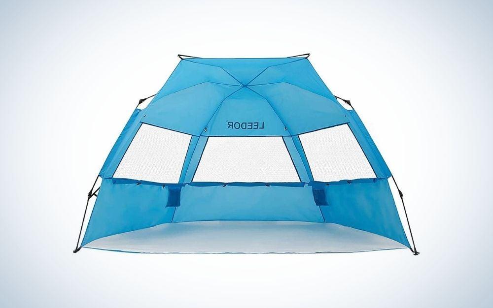 Blue beach umbrella tent with windows