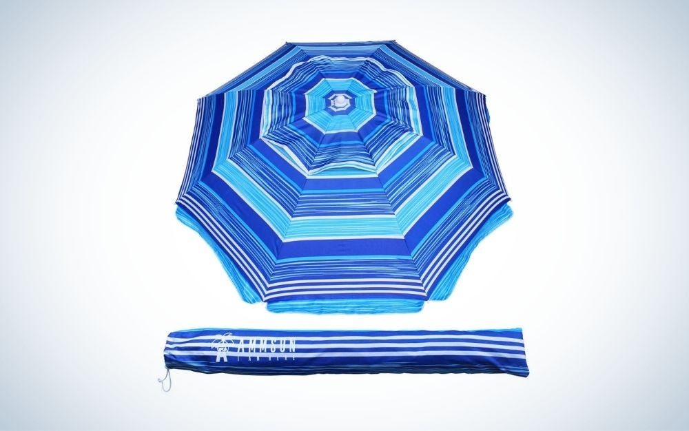 Striped blue beach umbrella with tint and carry bag