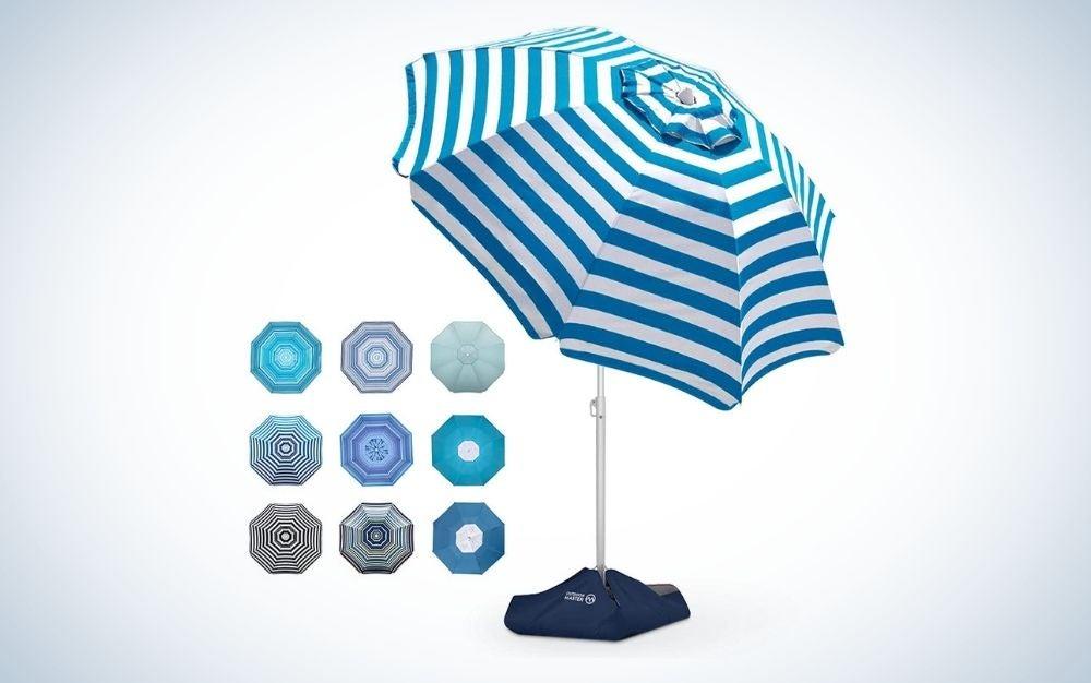 Blue and white striped beach umbrella
