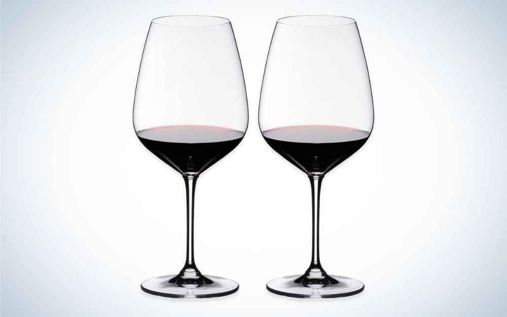 Two crystal wine glasses for red wine