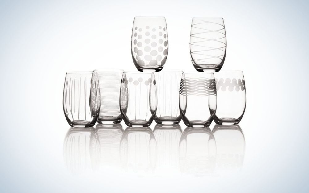 Set of 8 stemless wine glasses
