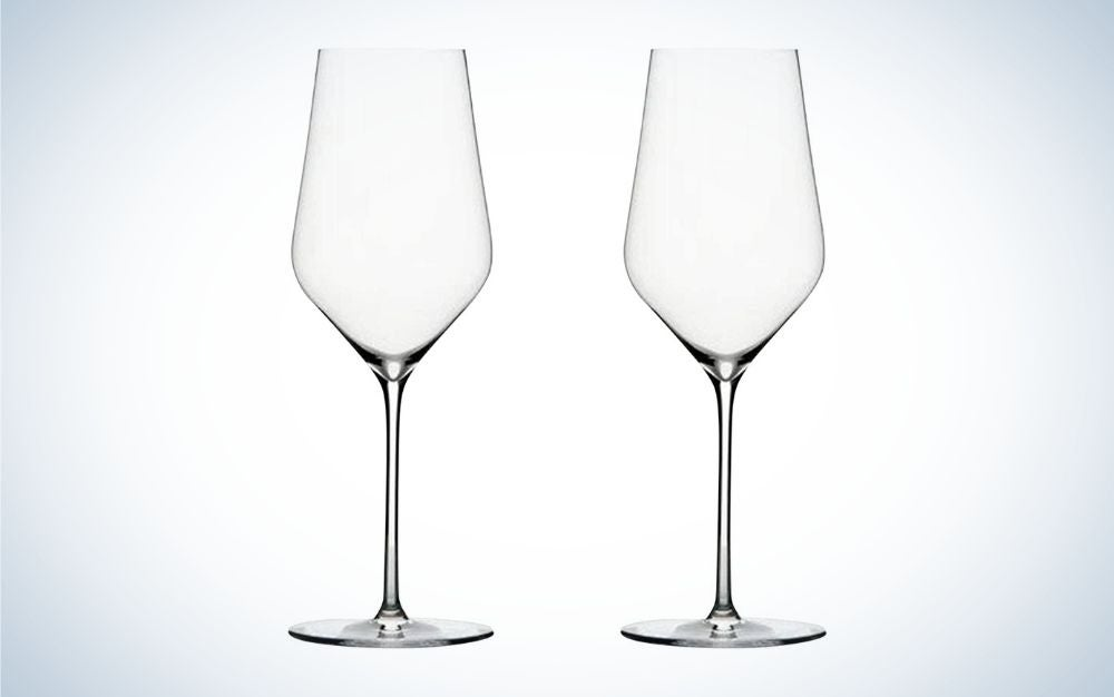 Two white crystal wine glasses
