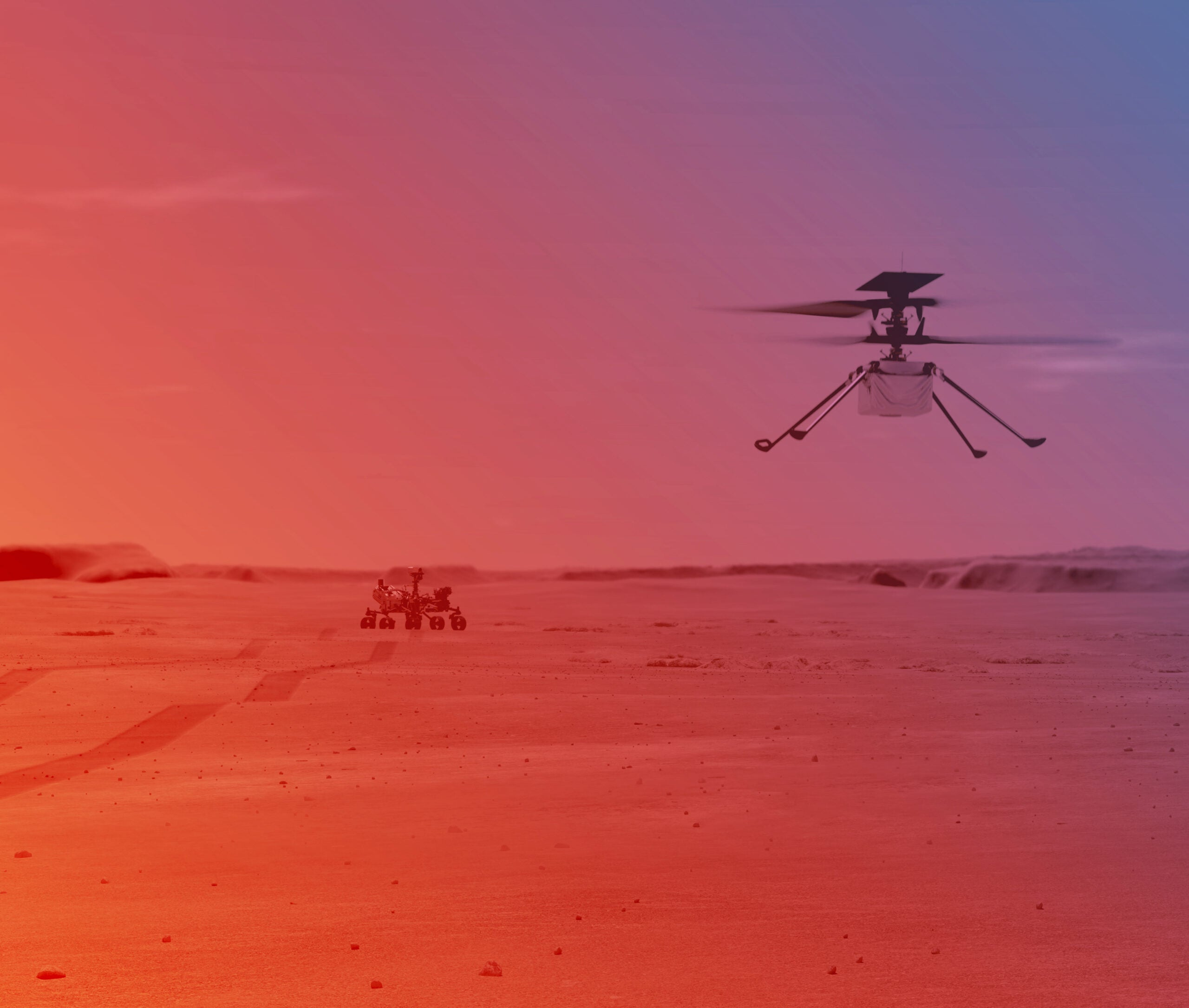 An illustration of the Mars Perseverance rover in the background and the Ingenuity helicopter in flight in the foreground.