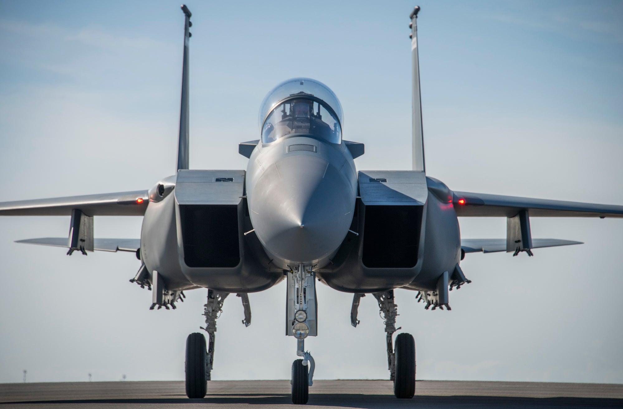 An F-15EX arrives at Eglin Air Force Base.