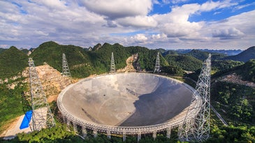 The FAST radio telescope in the Guizhou province of China