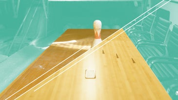Bowling lane and bowling pin on sea green background