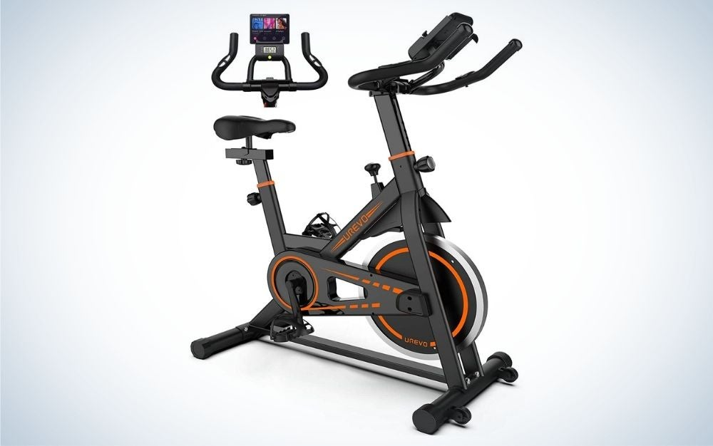 Black indoor cycling stationary bike