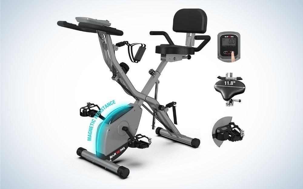 Gray foldable exercise stationary bike