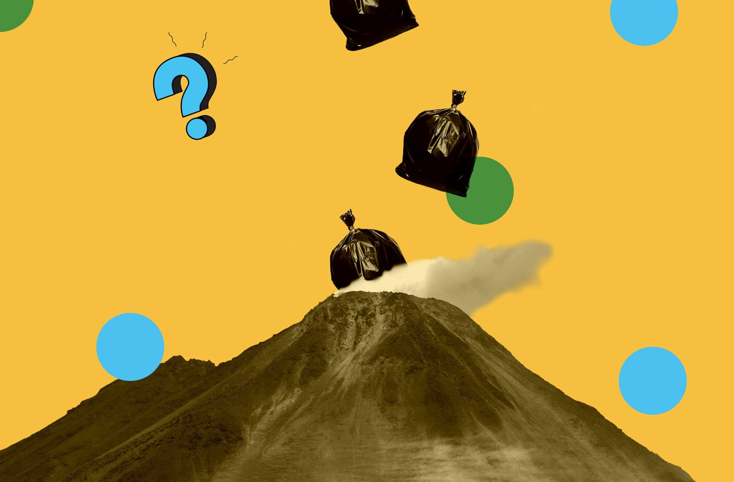trash falling into a volcano under the ask us anything logo