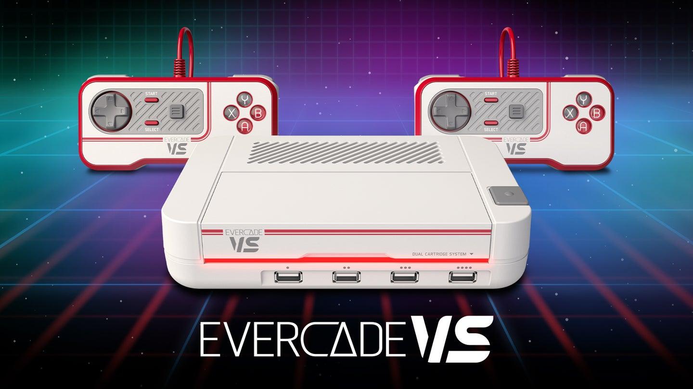Evercade VS video gaming console with contrtollers