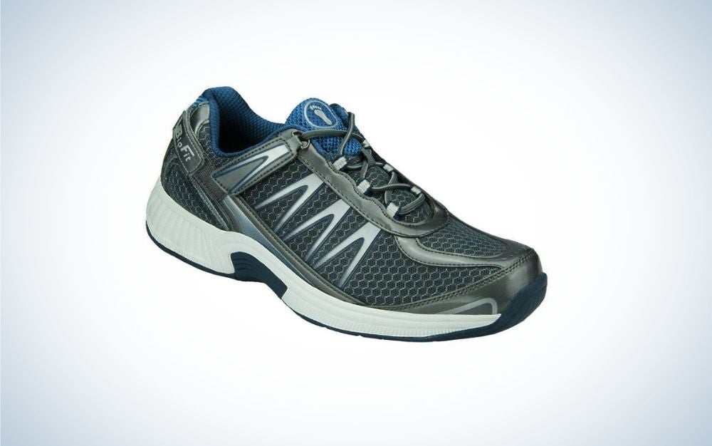 Blue and gray walking shoes for men for flat feet with hook-and-loop straps for laces