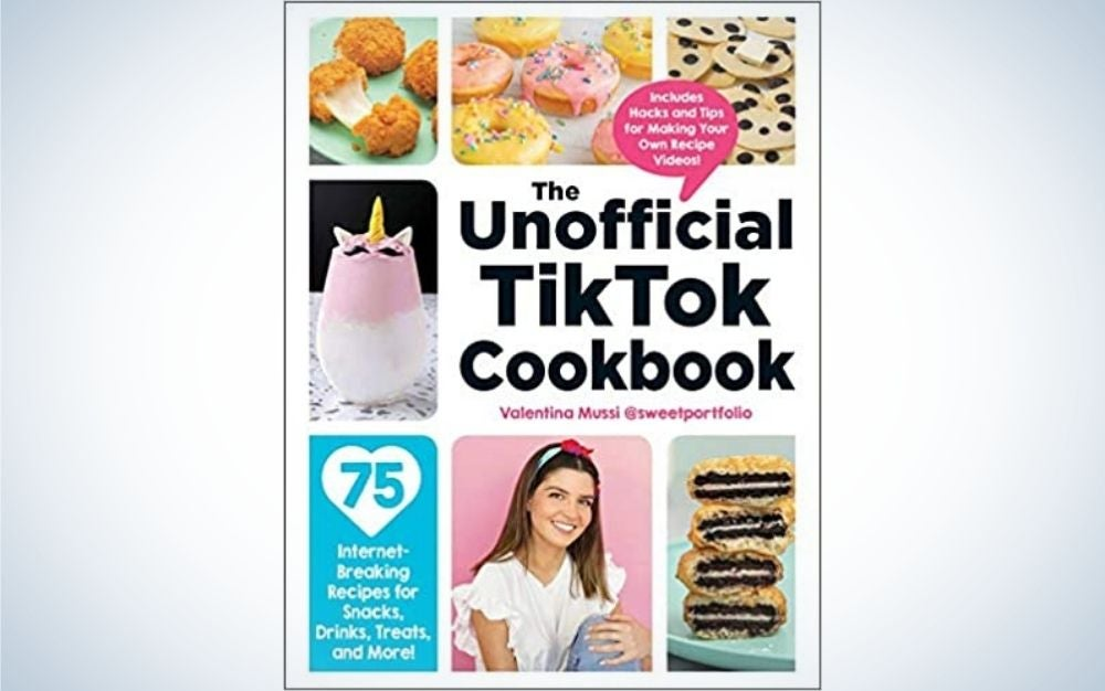 """A colorful magazine cover with lots of pictures and writing on it and an inscription in the center around the """"Tik Tok Cookbook""""."""