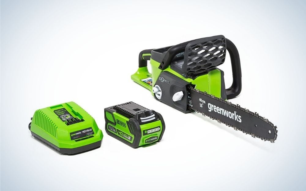 Black and green cordless chainsaw