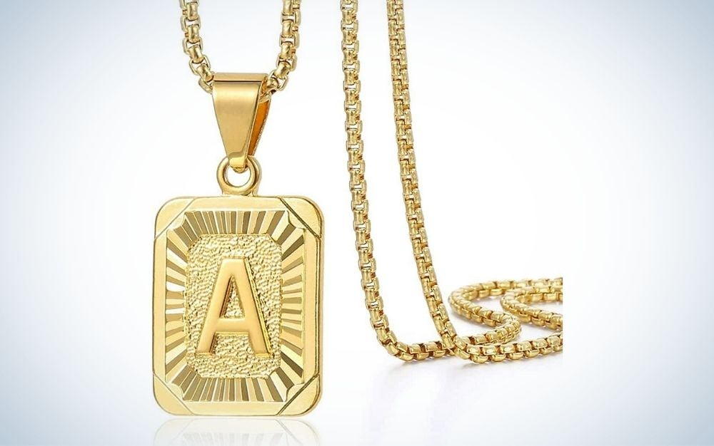 A letter gold necklace graduation gift for him