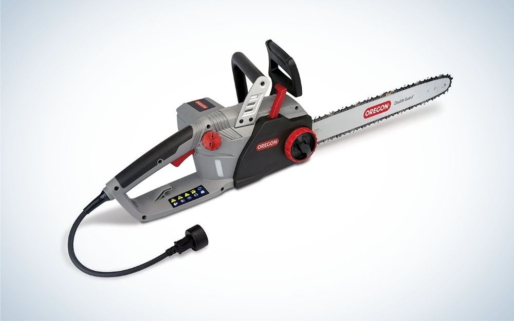 Black, gray, and red electric chainsaw