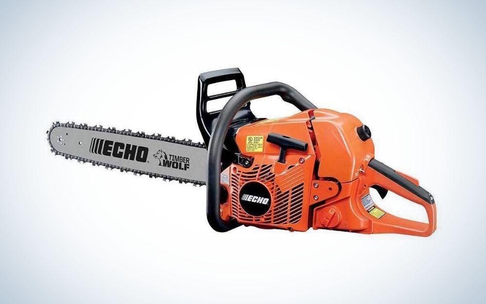 Black and orange gas chainsaw