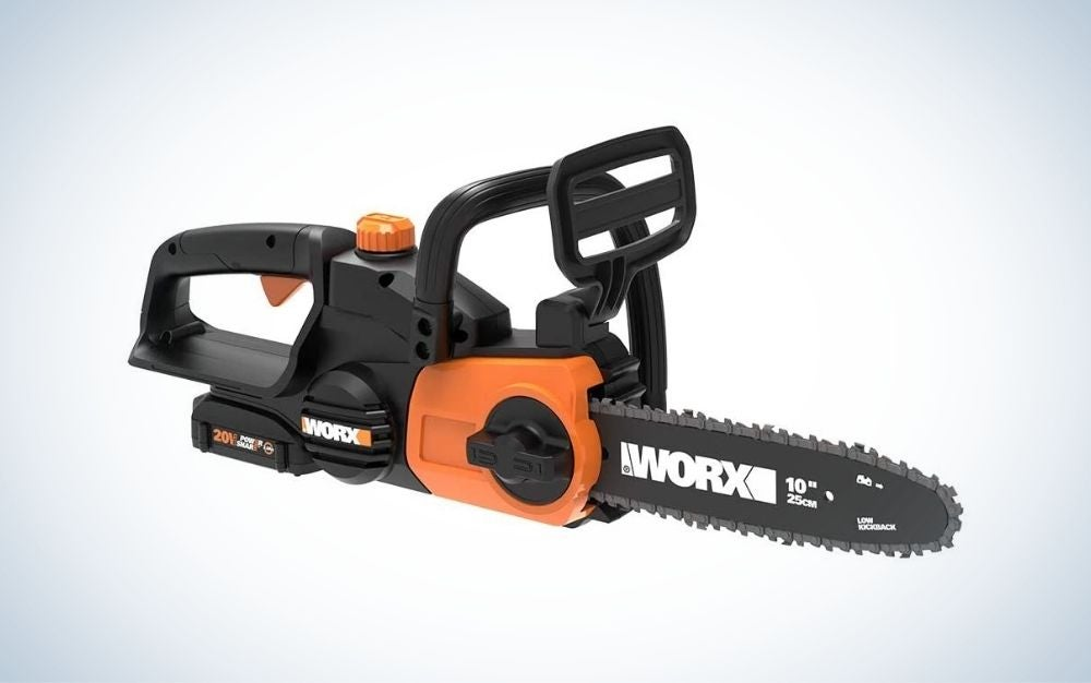 Black and orange cordless electric chainsaw