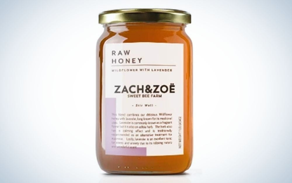 Ounce jar of honey with lavender from Zach&Zoe.
