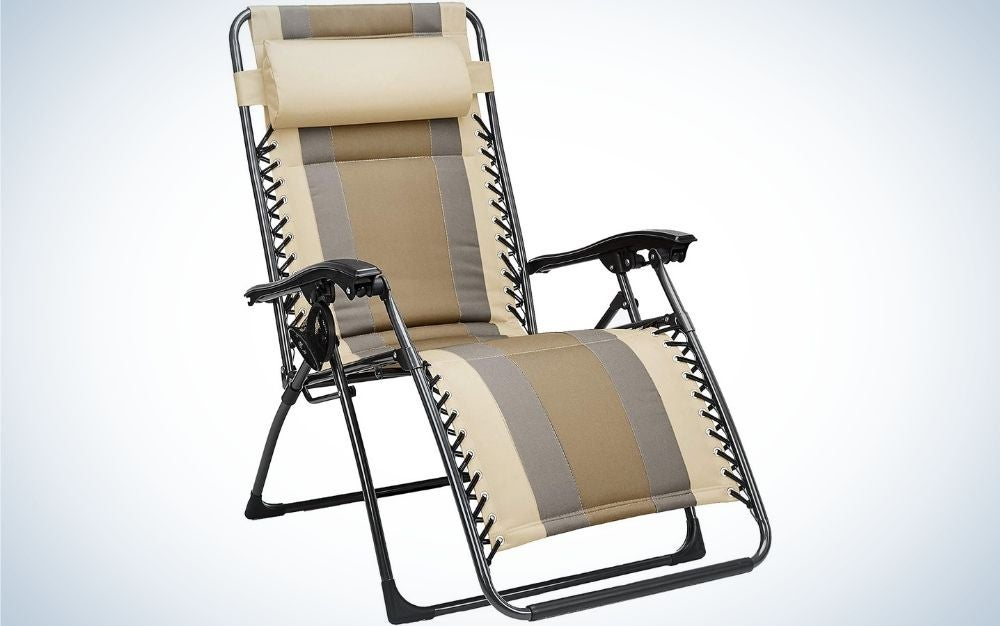 A relaxing outdoor chair with beige and brown colors with two hand supporters and a neck support.