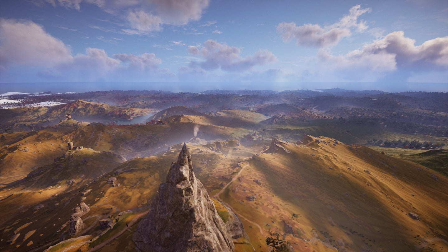 The view from the top of Manstone Rock in Assassin's Creed Valhalla.