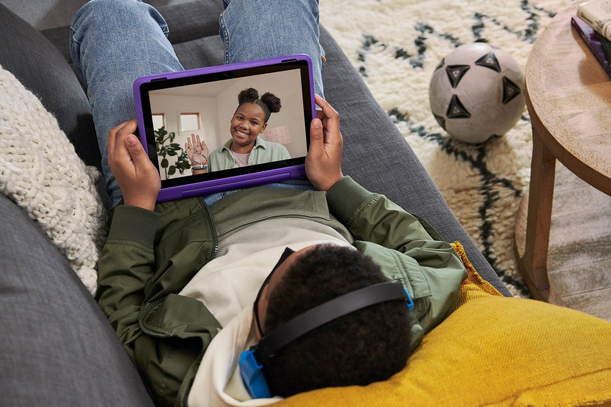 Kids using the Amazon Fire Kids Pro tablet