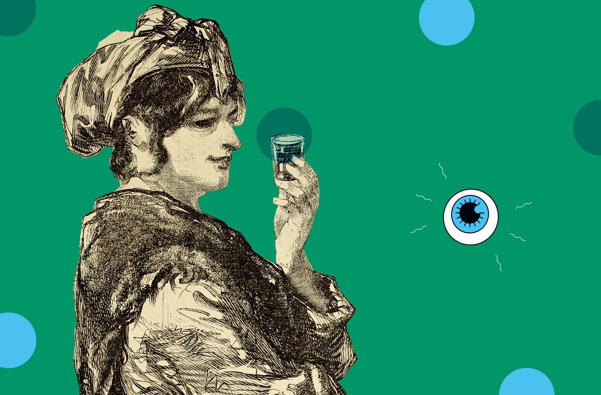 an old fashioned sketch of someone drinking out of a small glass on a green background with blue polka dots and a drawing of an eyeball